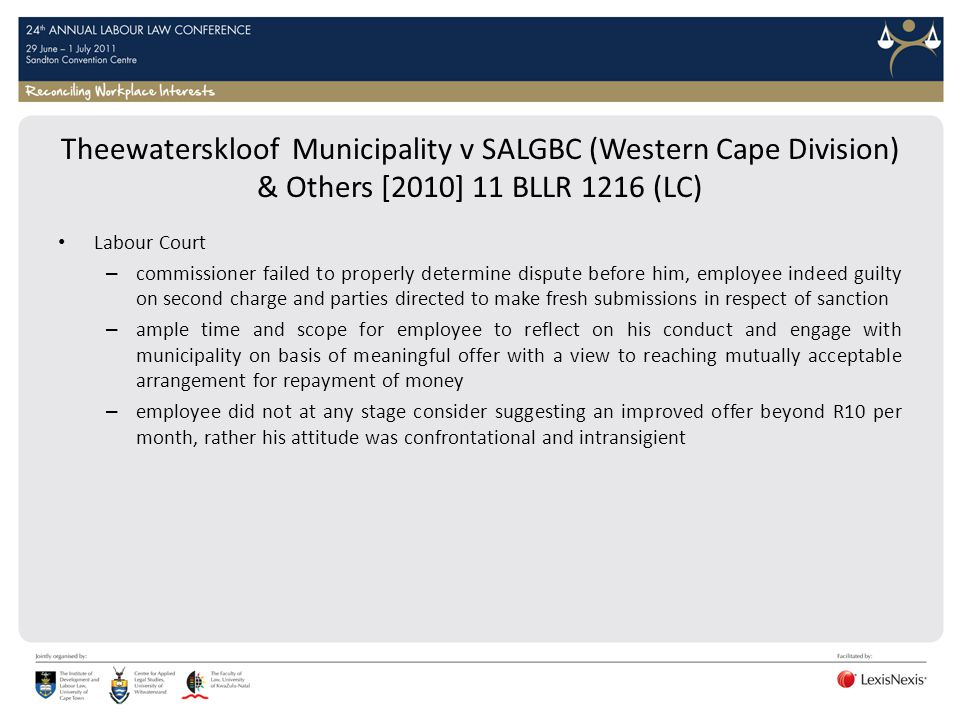 Theewaterskloof Municipality v SALGBC (Western Cape Division) & Others [2010] 11 BLLR 1216 (LC)
